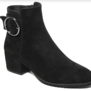 black suede bootie with thick heel