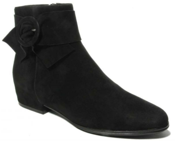 black suede bootie with matching buckle