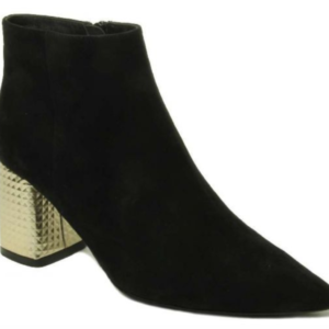 black pointed toe suede bootie