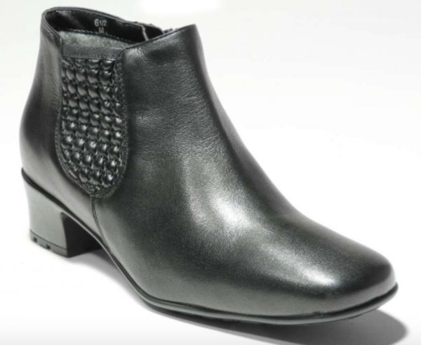 black leather waterproof ankle boot