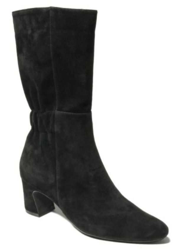 black mid-calf boot