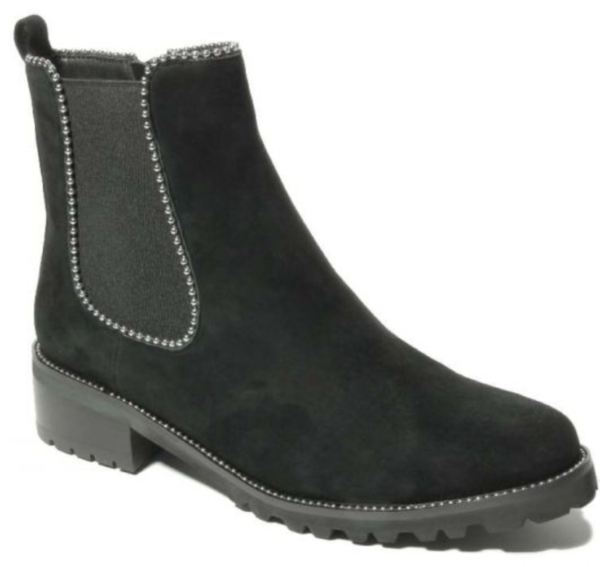 black suede bootie with silver beads