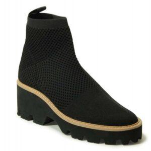 Vaneli Marina boots in black stretch knit